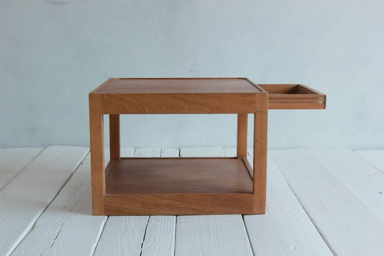 Walnut Side Table with Bottom Shelf and Parson Style Legs with Single Drawer 5