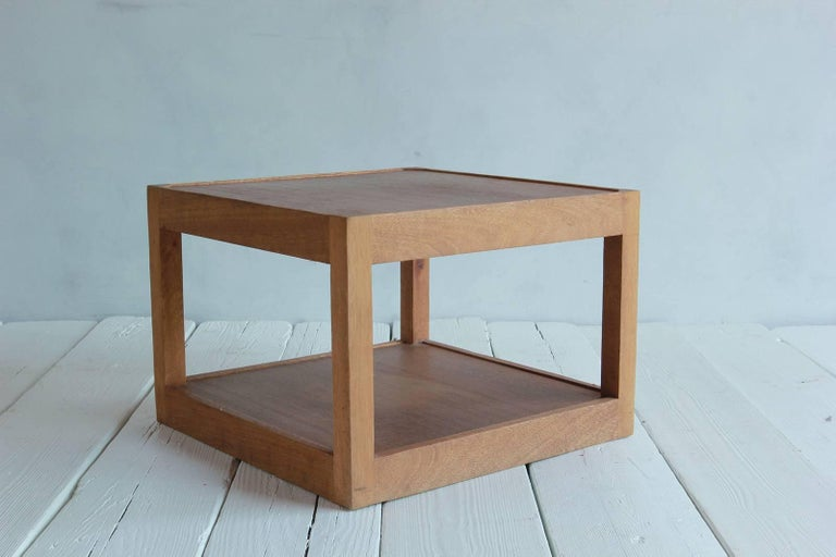 Walnut Side Table with Bottom Shelf and Parson Style Legs with Single Drawer 6