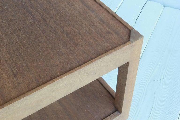 Walnut Side Table with Bottom Shelf and Parson Style Legs with Single Drawer 8