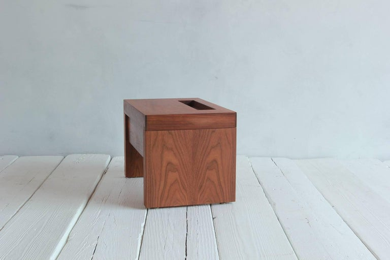 Walnut Side Table with Cut-Out Niche and Hidden Single Drawer 2