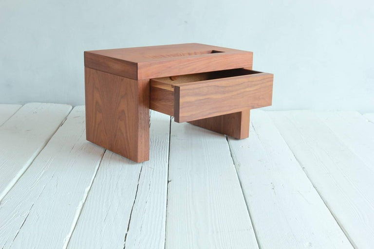 Walnut Side Table with Cut-Out Niche and Hidden Single Drawer 3
