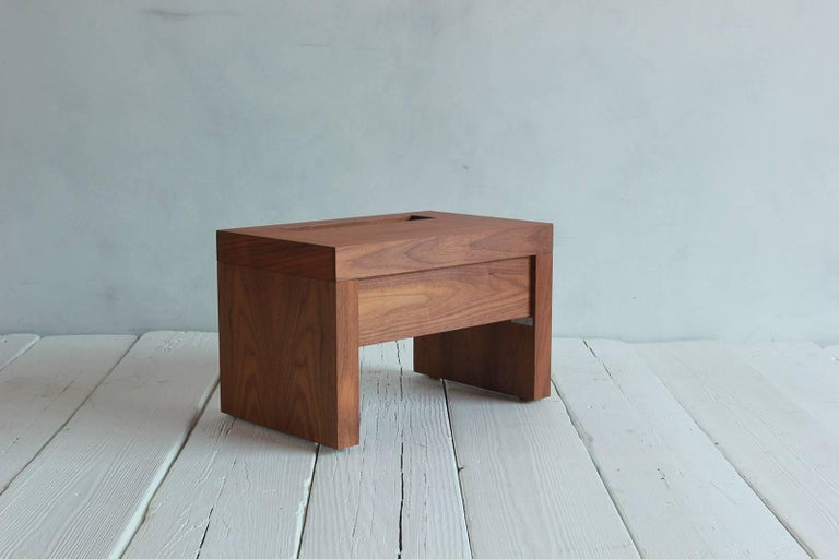 Walnut Side Table with Cut-Out Niche and Hidden Single Drawer 5