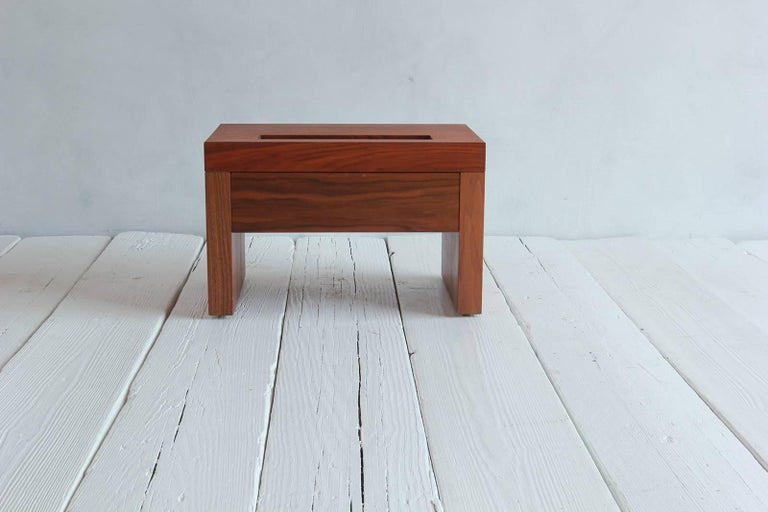 Walnut Side Table with Cut-Out Niche and Hidden Single Drawer 6