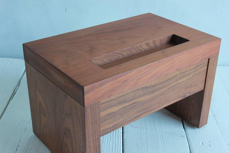 Walnut Side Table with Cut-Out Niche and Hidden Single Drawer 7