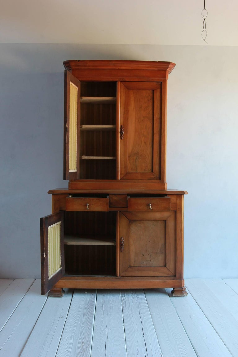 Large Two-Piece Elmwood Linen Press Hutch with Fully Lined Interior For Sale 1