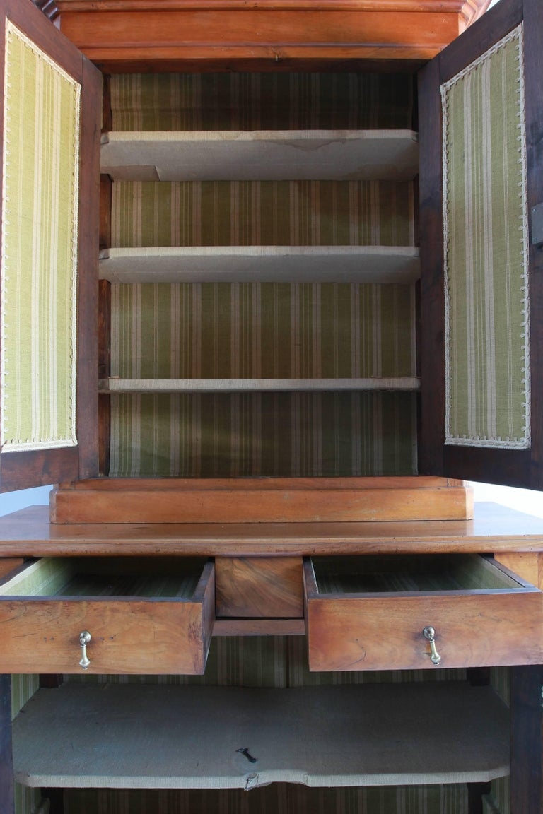 Large Two-Piece Elmwood Linen Press Hutch with Fully Lined Interior For Sale 5