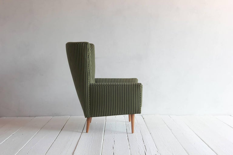 Pair of French Armchairs Upholstered Striped Green and Black Howe Fabric 3