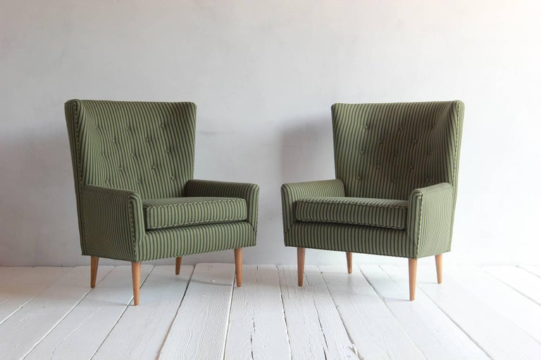Pair of French Armchairs Upholstered Striped Green and Black Howe Fabric 4
