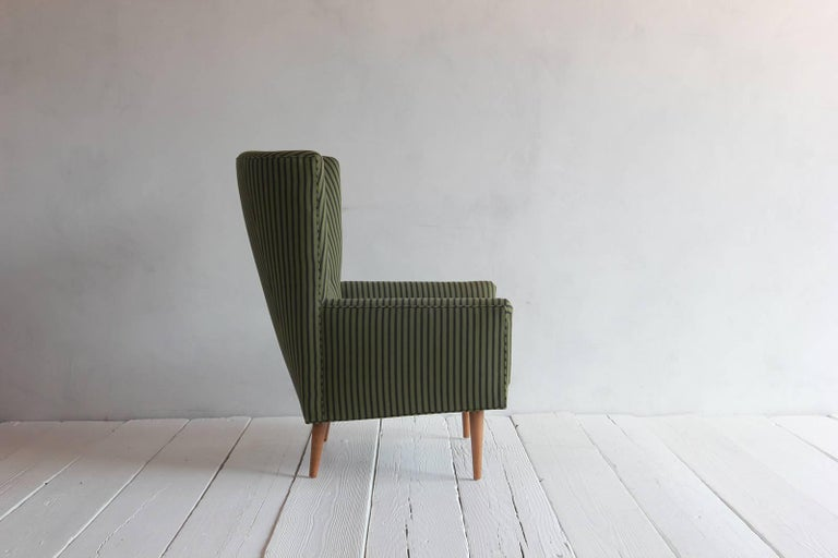 Pair of French Armchairs Upholstered Striped Green and Black Howe Fabric 5