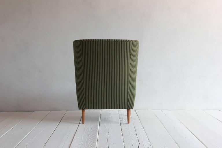 Pair of French Armchairs Upholstered Striped Green and Black Howe Fabric 6