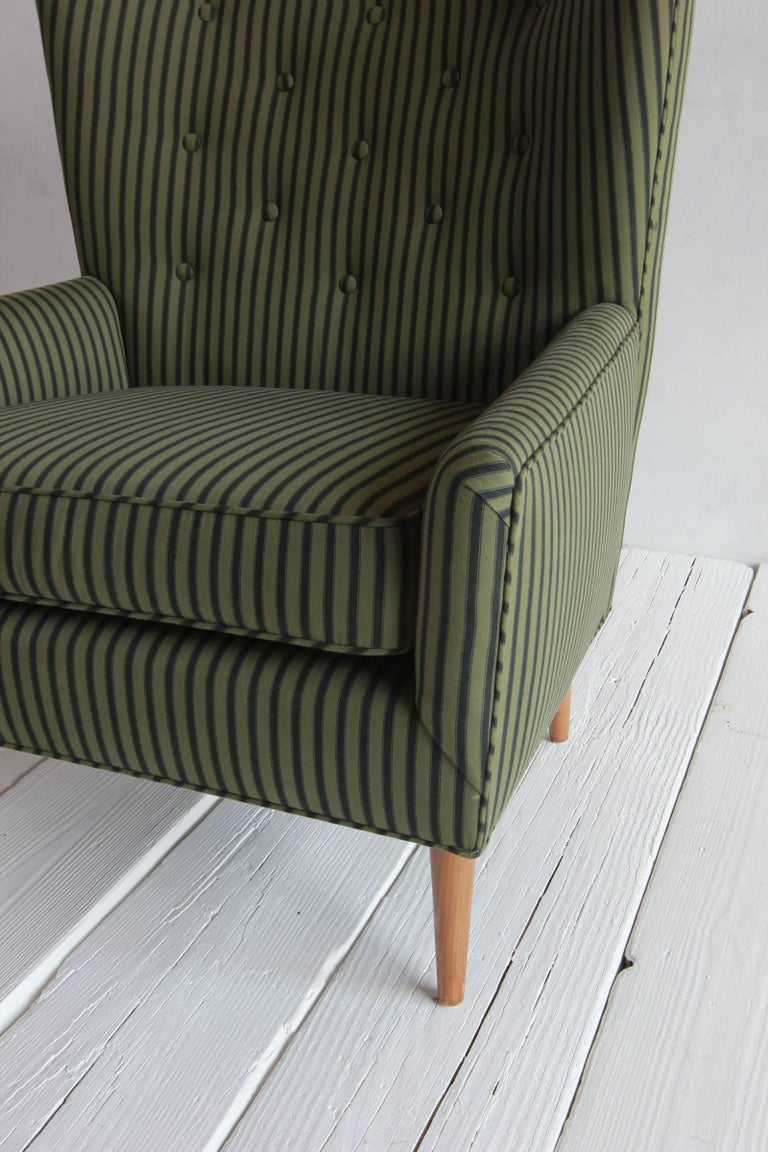Pair of French Armchairs Upholstered Striped Green and Black Howe Fabric 8