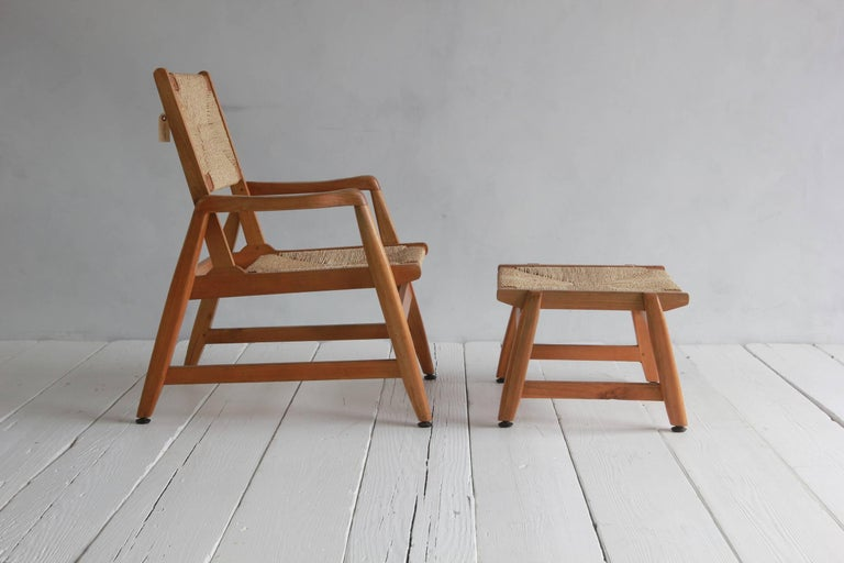 Danish Wood Framed Chair And Ottoman With Woven Rush