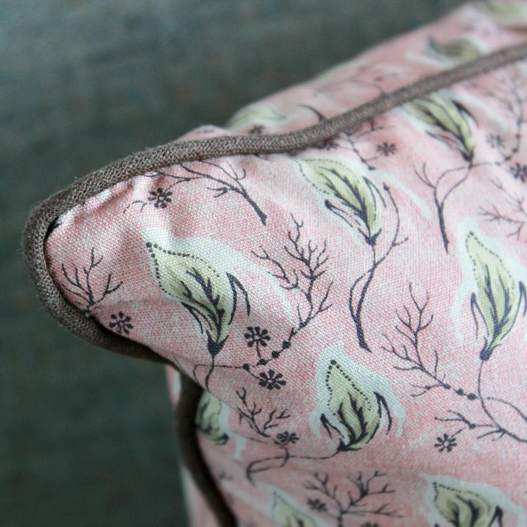 NK Collection Dusty Pink with Green Leaves Pillow In Excellent Condition For Sale In Los Angeles, CA