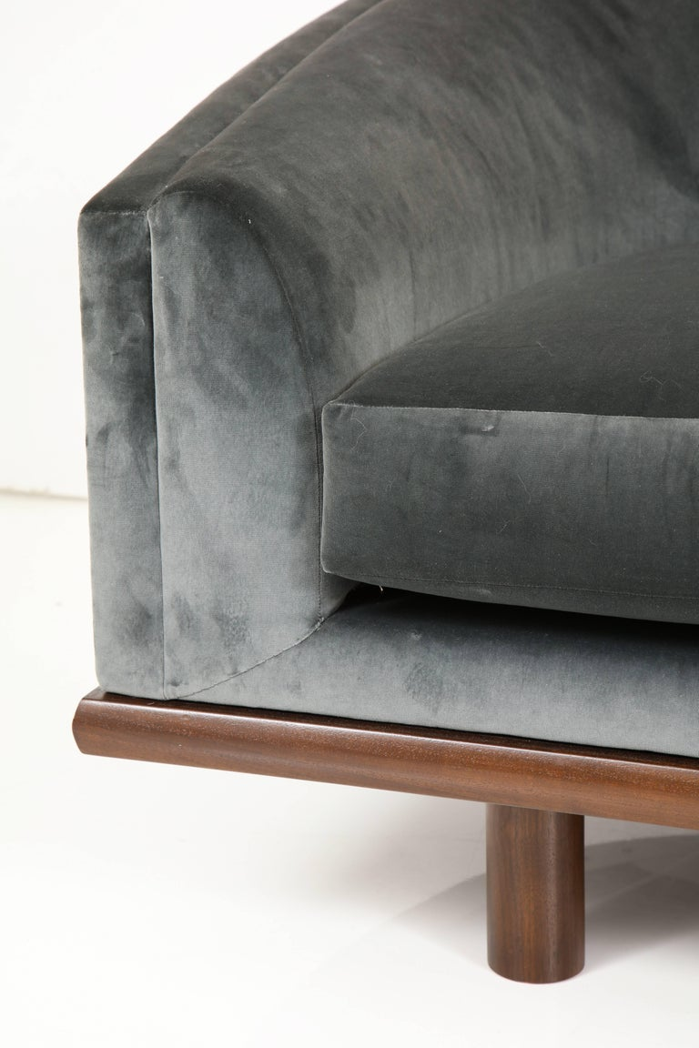 NK Curved Sofa Upholstered in Velvet with a Walnut Exposed Base For Sale 3