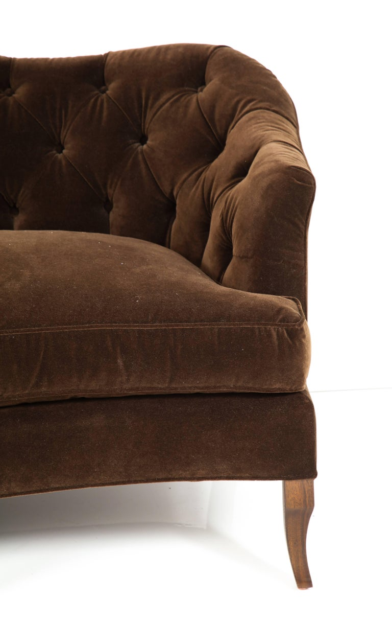 NK Collection Tufted Sofa Upholstered in Brown Velvet For Sale 1