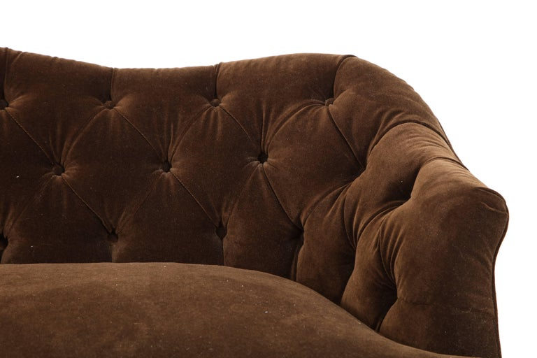 NK Collection Tufted Sofa Upholstered in Brown Velvet For Sale 4