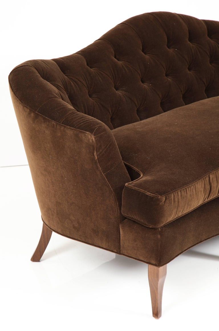 Nk collection tufted sofa upholstered in brown velvet for for Tufted couches for sale
