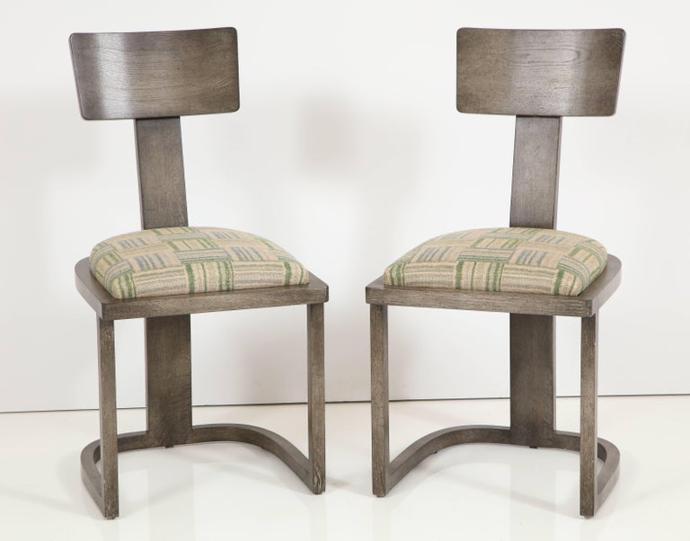 NK Collection T Chair Upholstered in Green Plaid Finish in Smoked Oak 2