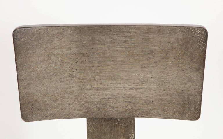 NK Collection T Chair Upholstered in Green Plaid Finish in Smoked Oak 3