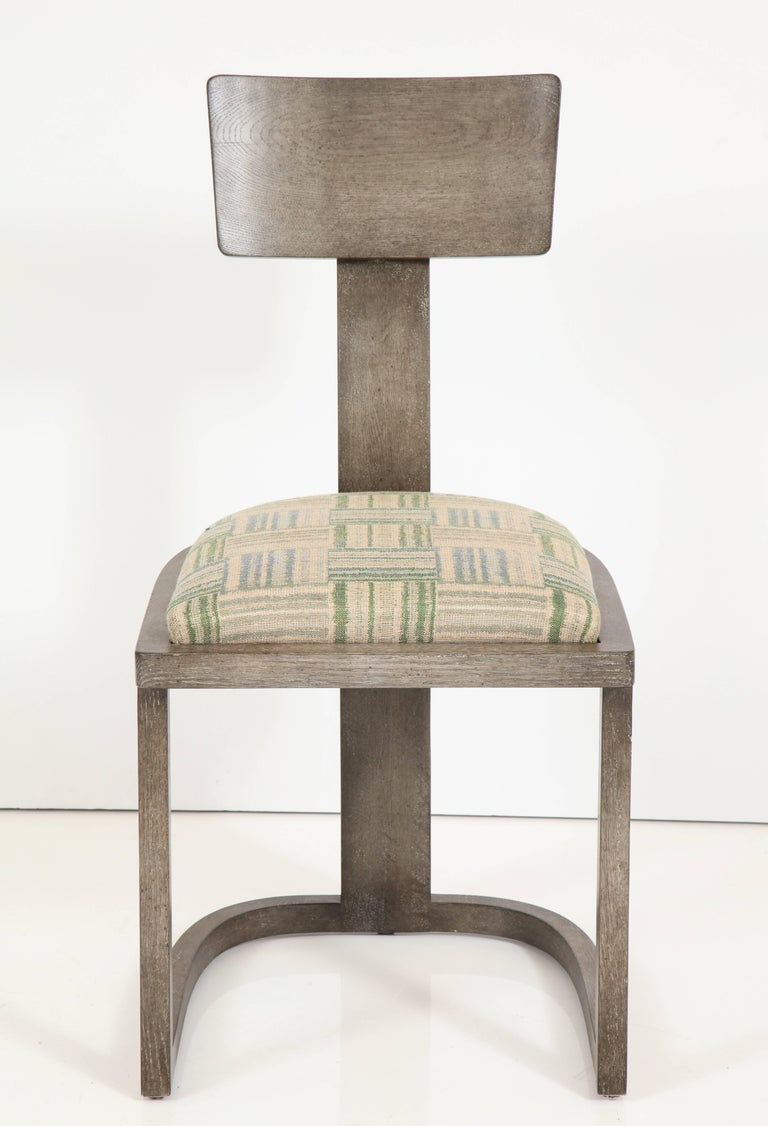 NK Collection T Chair Upholstered in Green Plaid Finish in Smoked Oak 4