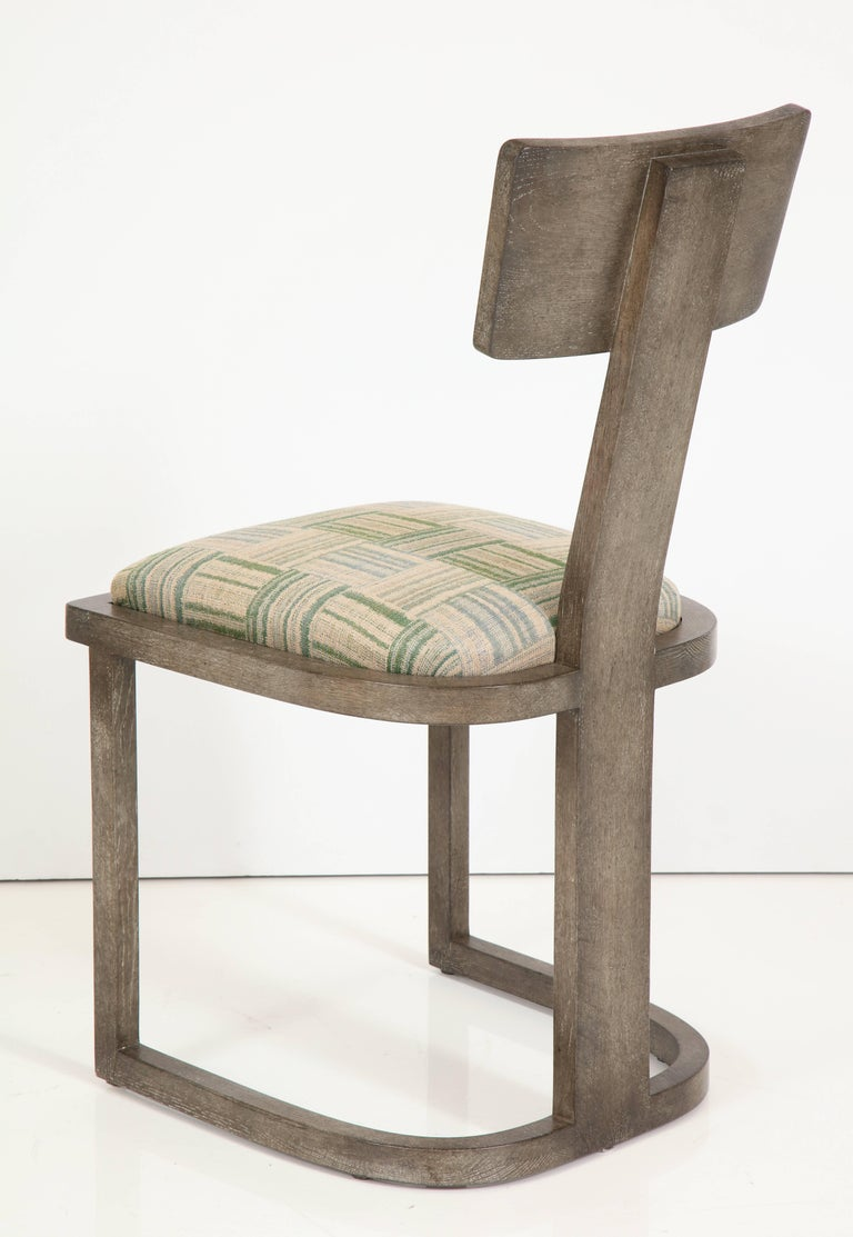 NK Collection T Chair Upholstered in Green Plaid Finish in Smoked Oak 5