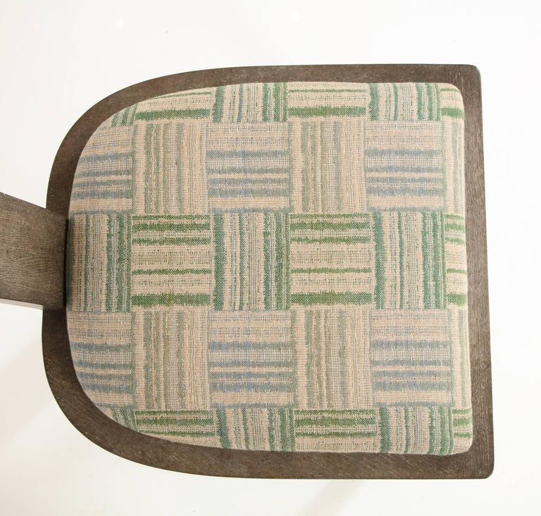 NK Collection T Chair Upholstered in Green Plaid Finish in Smoked Oak 6