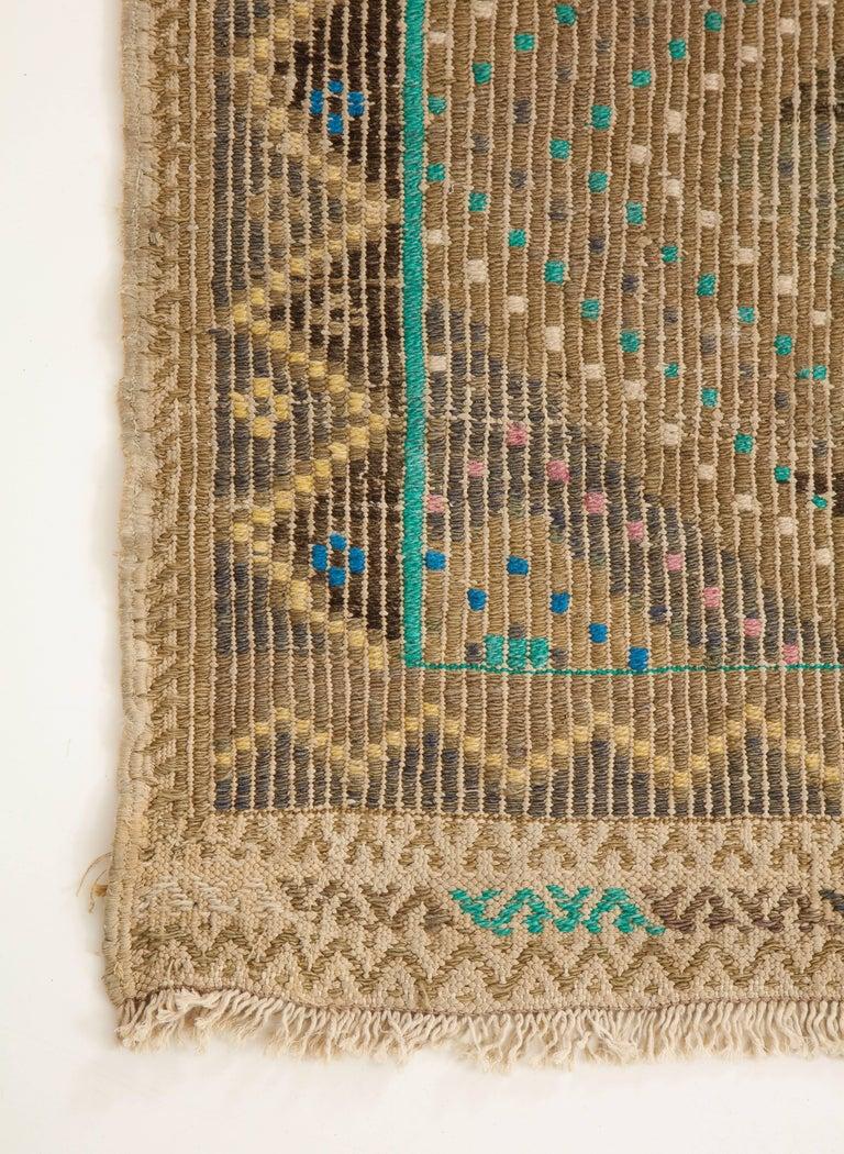 Turkish Flat-Weave Jajim Rug with Turquoise Border 2