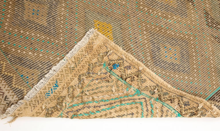 Turkish Flat-Weave Jajim Rug with Turquoise Border 3