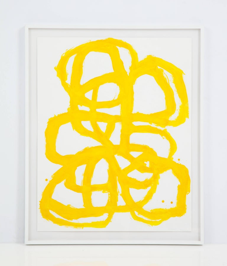 Contemporary Tim Forcum Original Framed Yellow Abstract For Sale