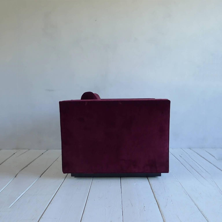 NK Collection Modern Swivel Chair Upholstered in Maroon Corduroy In Excellent Condition For Sale In Los Angeles, CA