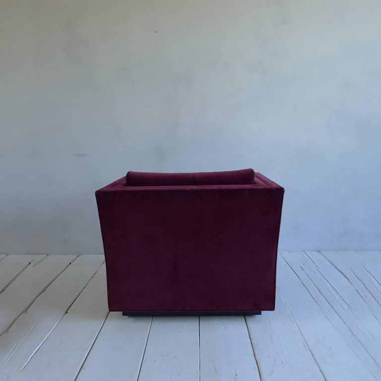 NK Collection Modern Swivel Chair Upholstered in Maroon Corduroy 5