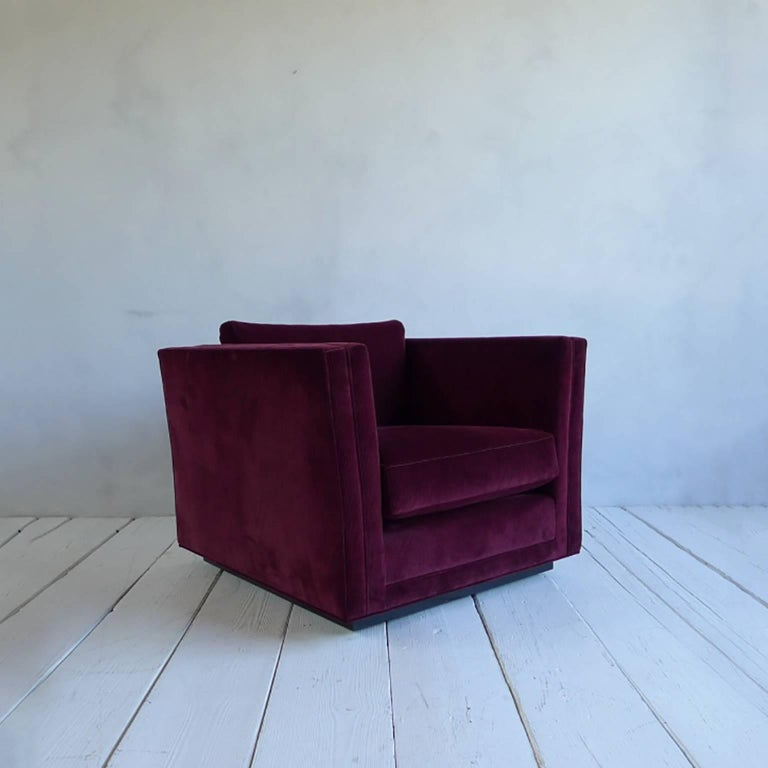 NK Collection Modern Swivel Chair Upholstered in Maroon Corduroy 6