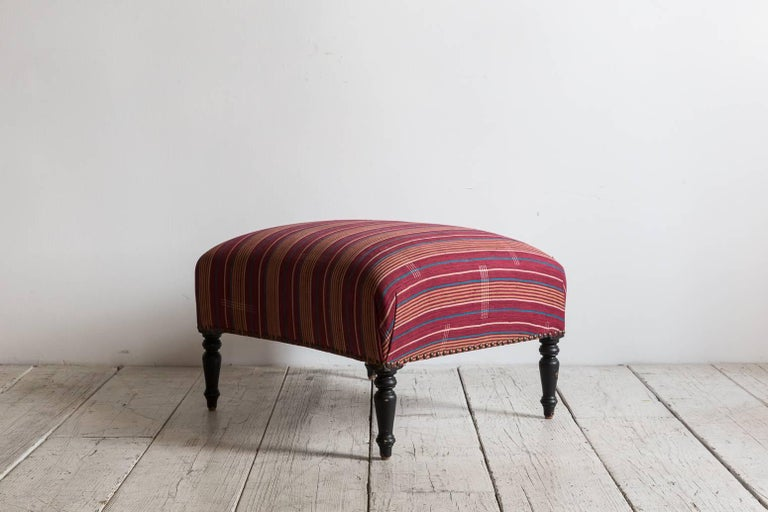 French Foot Stool Newly Upholstered in Tribal African Fabric 2