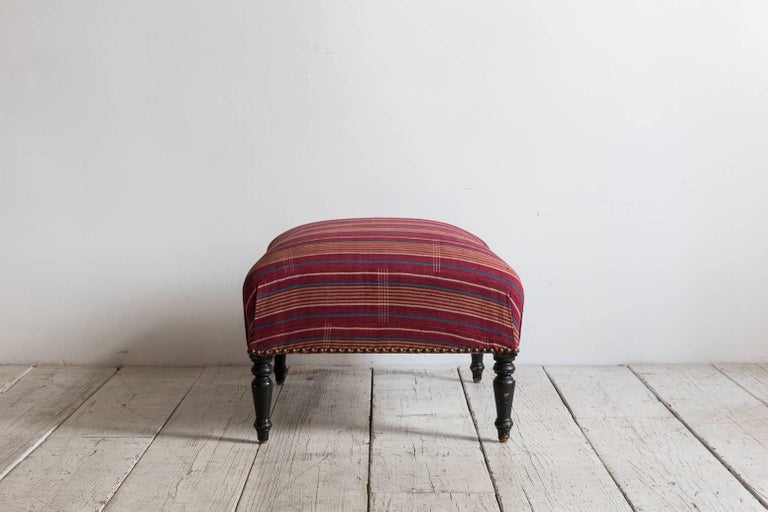 French Foot Stool Newly Upholstered in Tribal African Fabric 3