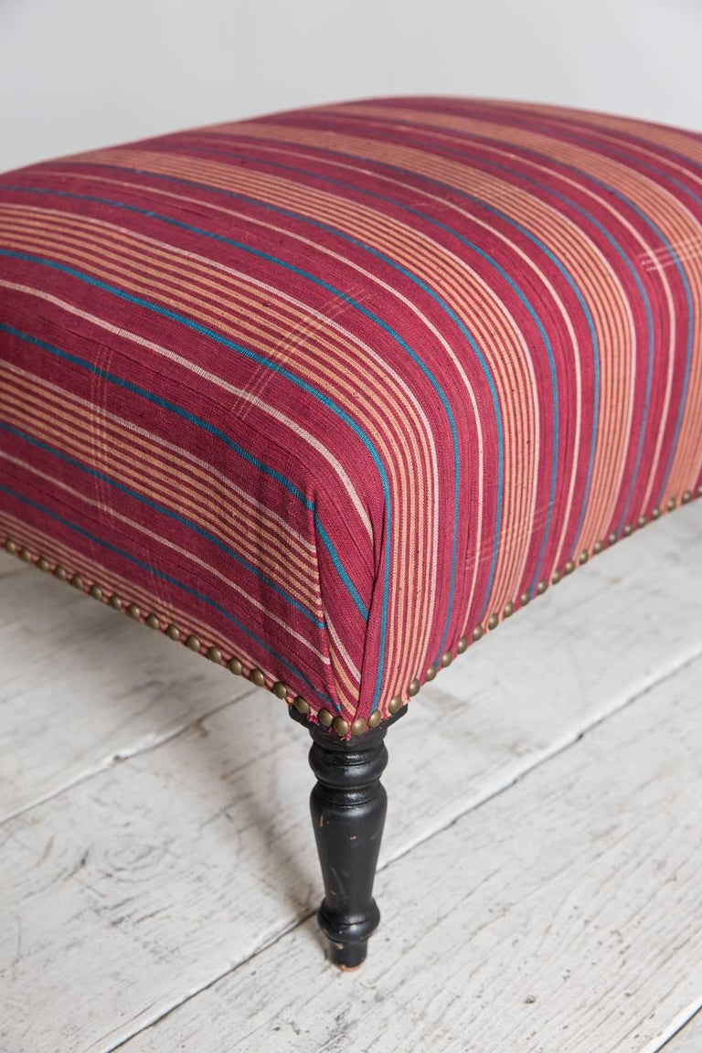French Foot Stool Newly Upholstered in Tribal African Fabric 4