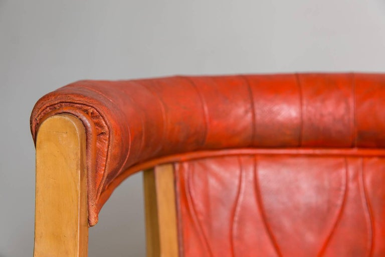 Mid-20th Century Captain Pull Up Chairs Upholstered in Red Distressed Leather For Sale