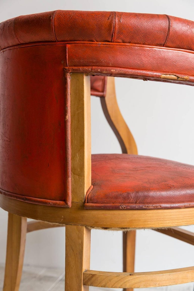 Captain Pull Up Chairs Upholstered in Red Distressed Leather 5