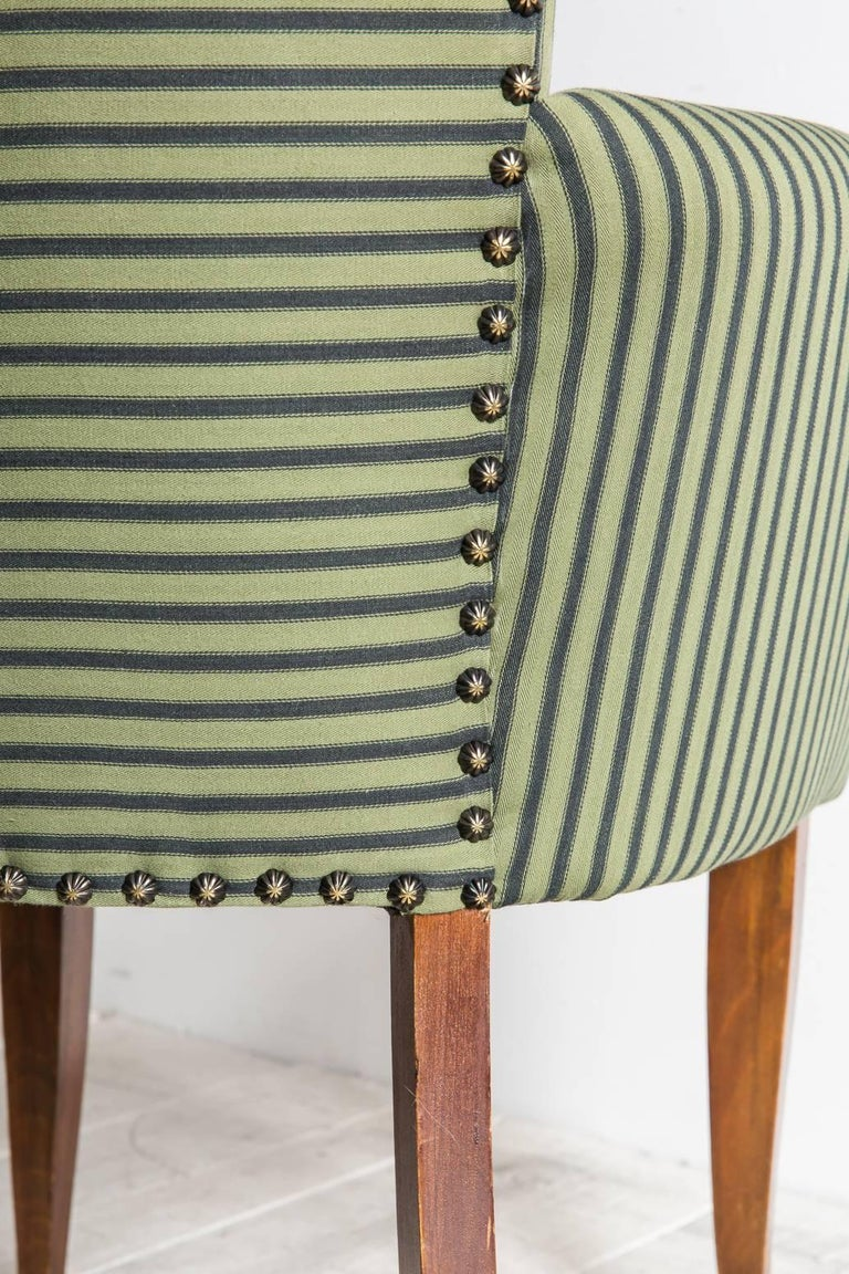 Mid-20th Century Pair of Captain Pull Up Chairs from Italy Upholstered in Howe Striped Fabric For Sale