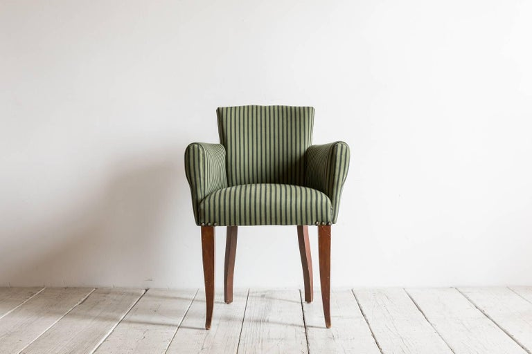 Pair of Captain Pull Up Chairs from Italy Upholstered in Howe Striped Fabric 2