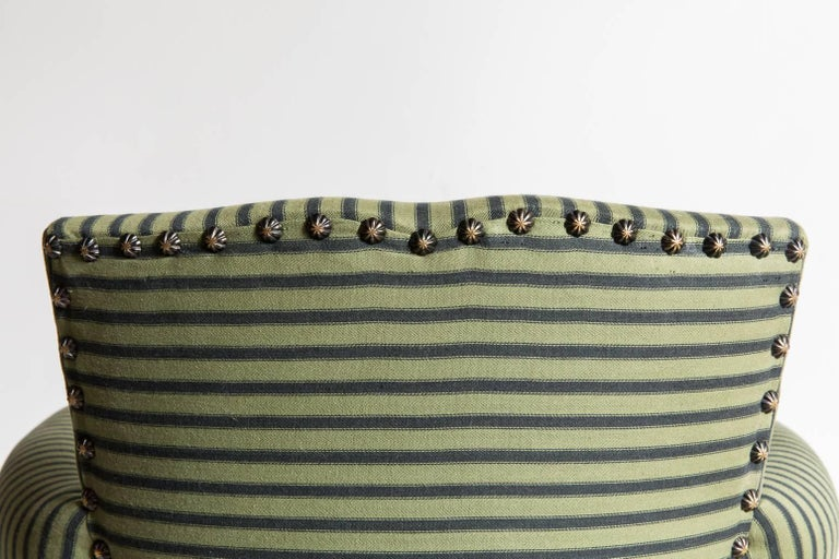 Pair of Captain Pull Up Chairs from Italy Upholstered in Howe Striped Fabric 5
