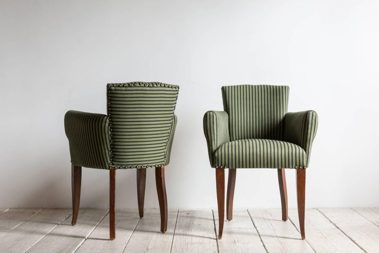 Pair of Captain Pull Up Chairs from Italy Upholstered in Howe Striped Fabric In Excellent Condition For Sale In Los Angeles, CA