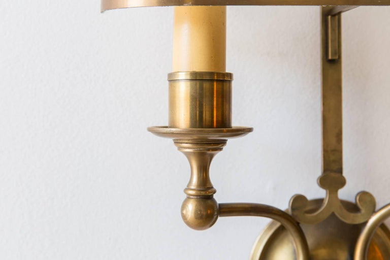 Pair of French Brass Sconces with Double Socket and Curved Cloth Shade 2