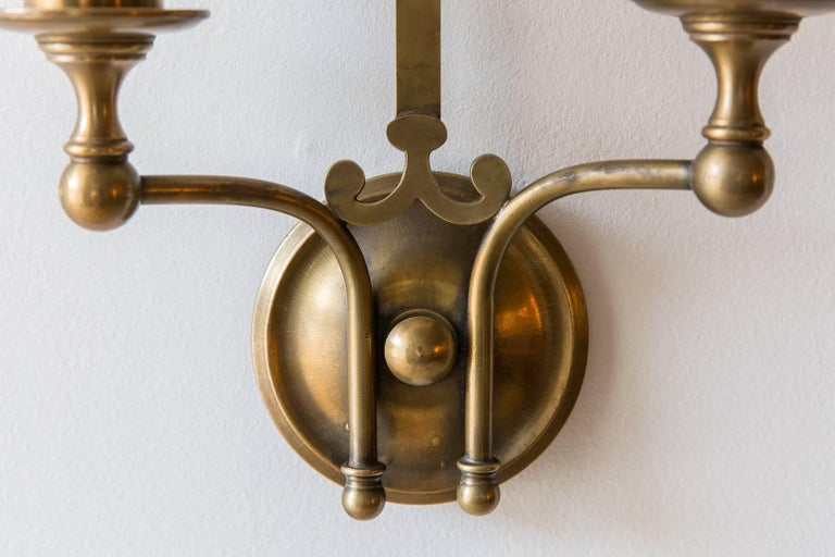 Pair of French Brass Sconces with Double Socket and Curved Cloth Shade 3