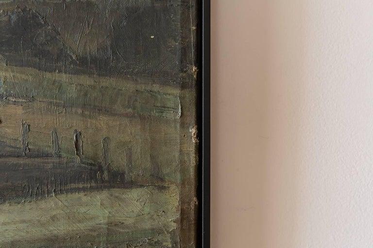 """Black framed """"Gaswork"""" vintage Industrial landscape painting signed Flemming Bergsoe."""