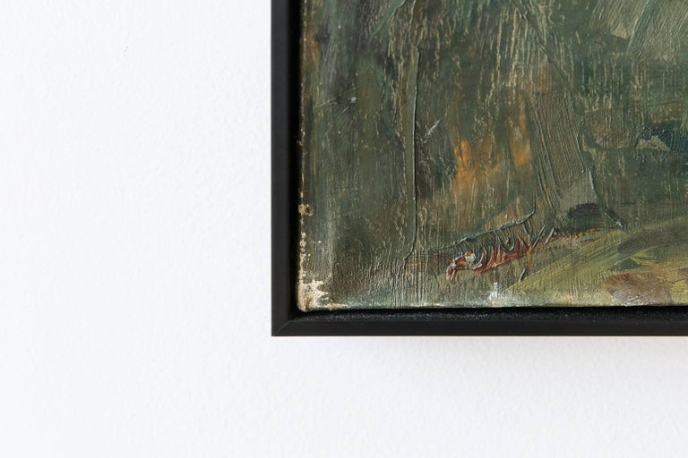 """Black Framed """"Gaswork"""" Vintage Industrial Landscape Painting Signed Flemming In Distressed Condition For Sale In Los Angeles, CA"""
