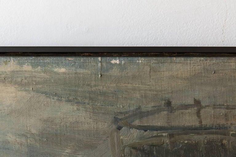 """Mid-20th Century Black Framed """"Gaswork"""" Vintage Industrial Landscape Painting Signed Flemming For Sale"""