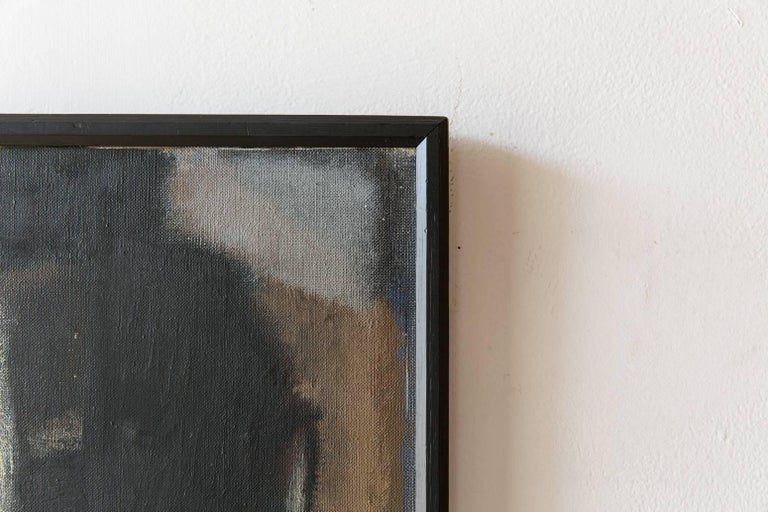 Black Framed Cubist Muted Abstract, Signed H. Ernst, circa 1958 In Distressed Condition For Sale In Los Angeles, CA