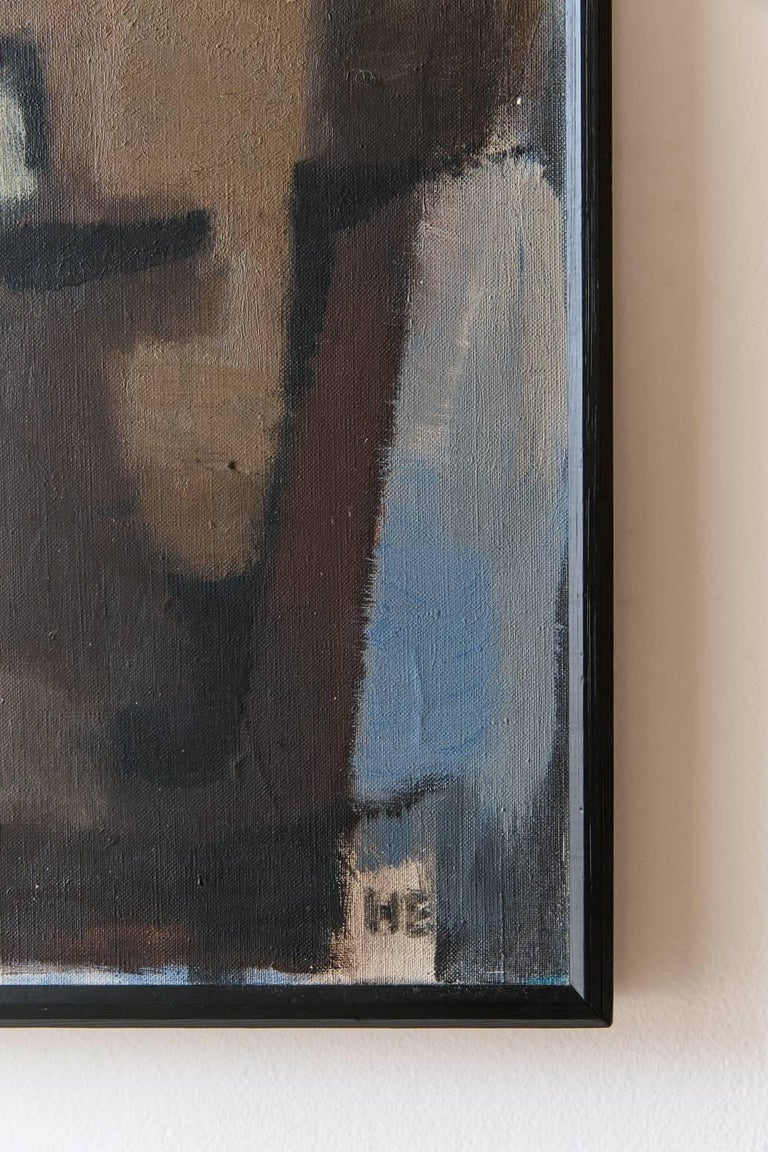 Mid-20th Century Black Framed Cubist Muted Abstract, Signed H. Ernst, circa 1958 For Sale