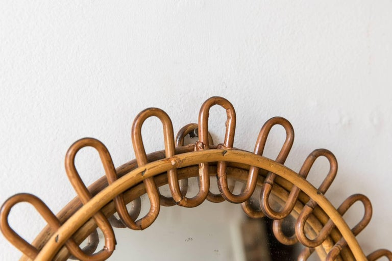 Mid-20th Century Curled Oval Wicker Mirror from France For Sale
