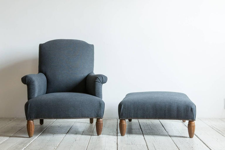 Pair of Vintage Armchairs with Ottoman with Carved Wooden Legs 2